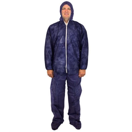 DISPOSABLE COVERALL - BLUE POLYPROPYLENE 25/CS MD -4X