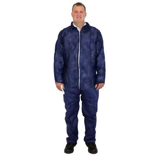 DISPOSABLE COVERALL - BLUE - POLYPROPYLENE W/O HOOD&BOOTS -NO ELASTIC AT WRISTS OR ANKLES 25/CS MD -4X