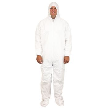 COVERALL BREATHABLE MICRO FILM MATERIAL WITH HOOD AND FEET AND ELASTIC WRISTS INDIVIDUALLY PACKAGED LG -5X 25/CS