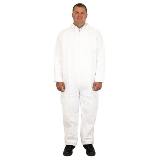 COVERALL BREATHABLE MICRO FILM MATERIAL NO HOOD OR FEET & NO ELASTIC WRISTS OR ANKLES INDIVIDUALLY PACKAGED MD -5X 25/CS