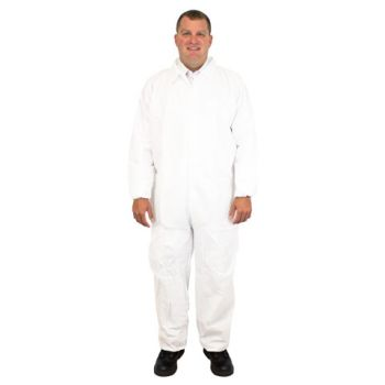 COVERALL BREATHABLE MICRO FILM MATERIAL NO HOOD OR FEET WITH ELASTIC WRISTS AND ANKLES INDIVIDUALLY PACKAGED LG -5X 25/CS