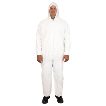 COVERALL BREATHABLE MICRO FILM MATERIAL WITH HOOD - ELASTIC WRISTS AND ANKLES AND NO FEET INDIVIDUALLY PACKAGED LG -5X 25/CS