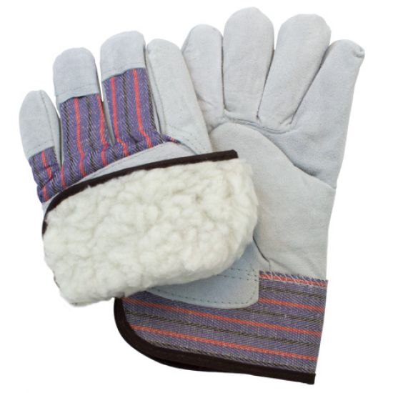 "COW GRAIN LEATHER WHITE FLEECE LINED - KEYSTONE THUMB - 2 1/2"" RUBB. SAFETY CUFF - BEIGE W/ RED+BLUE STRIPES"