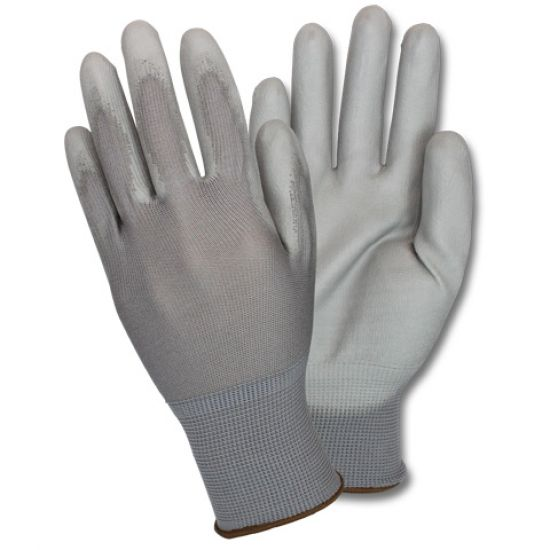 GRAY NYLON GLOVE -W/GRAY PU COATING 6DZ/CS