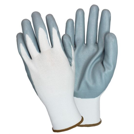 NYLON GLOVE DIPPED IN GRAY NITRLE FOAM 6DZ/CS