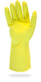 FLOCK LINED LATEX - YELLOW - 18 MIL - BULK PACKED